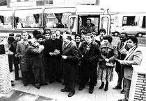 Das Bild zeigt die französische Staffel bei der Ankunft in Wesel.