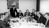 Vorstand v.l.n.r.: Fritz Kurek, Horst Höppken, Walter Schmellenkamp, Ernst Petrat (stehend), Egon Ramms, Dr. Heiner Burk, Karl Oimann, Gerd Abelsmann, Erwin Haferkamp, Ewald Ewig