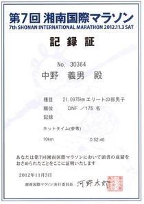 湘南国際マラソン記録証