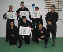 hinten v.l. Gerd Reimer, 8. Kyû, Patrick Althoff, 8. Kyû, Michael Simon, 9. Kyû, vorne Daniel Althoff, 8. Kyû