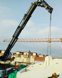 Rimini gru noleggio camion gru per scarico e montaggio casa prefabbricata in legno a Rimini