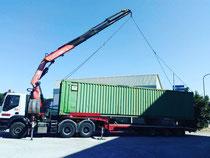 Rimini gru bilico con rimorchio ribassato per trasporto e scarico container 40 piedi Ravenna