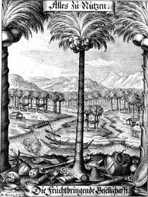 Die Fruchtbringende Gesellschaft – eine Sprachnormautorität. Kupferstich von Matthäus Merian (1646).