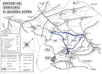 Il percorso della ciaspolata (in blu)