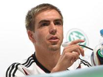 Philipp Lahm bringt es auf den Punkt: «Wir wollen den Weltmeistertitel.» Foto: Andreas Gebert