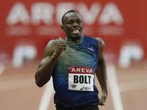 Usain Bolt holt sich den Sieg in London mit Saisonbestzeit. Foto: Ian Langsdon