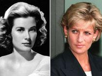 Die Bildkombo zeigt Grace Kelly (l) 1954 und die britische Prinzessin Lady Diana am 13.01.1997. Foto: UPI/John Stillwell
