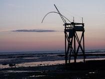 pêcherie vue de la plage à 200 mètres