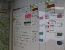 In der neuen Kommandozentrale des Katastrophenschutzstabes im Hufelandhaus in Stendal werden wichtige Informationen auf Whiteboards festgehalten. Foto: Sabrina Lamcha