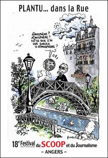 Affiche de Plantu pour le 18e frestival du Scoop et du Journalisme d'Angers, 2003 (DR)