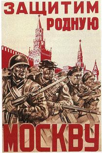Affiche soviétique pour la défense de Moscou
