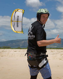 Kitesurfing student with Trapeze and Kite Fun