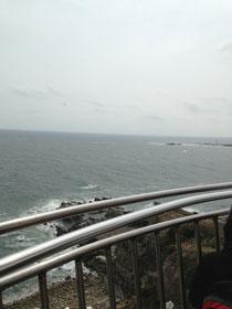 灯台の上で撮影
