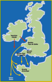 Migrations from Cornwall, Devon and Wales in the early Middle Ages