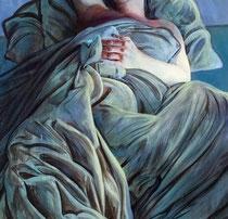 """Lukas Johannes Aigner, """"Der Traum verhüllt durch Wirklichkeit"""", Triptychon, Acryl auf  Tafel, 420x200 cm, 2008, Detail"""