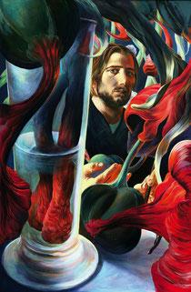 "Lukas Johannes Aigner, ""Amaryllis in der Biertulpe,Nr.I"", Acryl7Öl auf Tafel, 100x80cm, 2006"