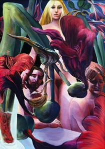 "Lukas Johannes Aigner, ""Amaryllis in der Biertulpe,Nr.II"" Acryl/Öl auf Tafel, 97x77cm, 2006"
