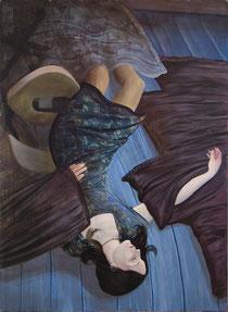 """Lukas Johannes Aigner, """"Postpubertäre, berufsjugentliche, Komasäuferin, werdende Spiegeltrinkerin"""", Acryl auf MDF, 190x200 cm, 2007"""