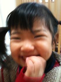 ハミガキをがんばって笑顔。