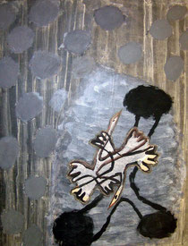 fadia Haddad , technique mixte sur toile, expose à la galerie agnes thiebault