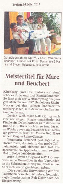 Rhein-Neckar-Zeitung, 16. März 2012