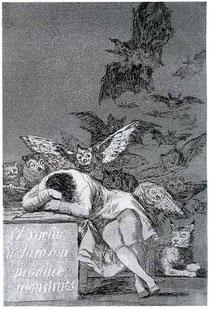 Goya, Le sommeil de la raison engendre des monstres, 1797.