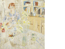 Amy in the Kitchen at Banks Head  signed and dated Winifred Nicholson 1928