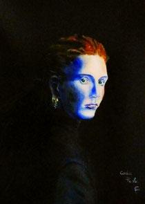 Woman in the darkness. Olio su tela 30x40