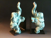Elephant bookends, 1930s