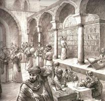 Redécouverte des textes grecs et latins traduits et conservés dans les bibliothèques du Moyen Orient. Temple de Paris