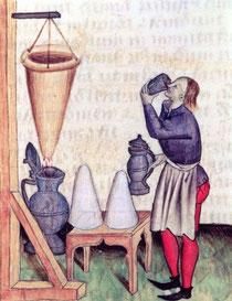 Fabrication pain de sucre et sirop - Tractatus de herbis par Dioscorides. Temple de Paris