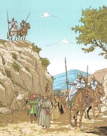 Templiers escortant des Pélerins - Les voyages de Jhen - Les Templiers - Ed. Casterman. Temple de Paris