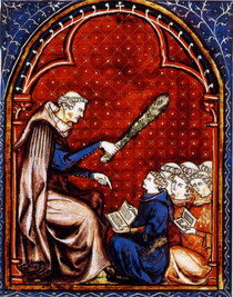 Sous la férule du maître. XIVe siècle. Paris, BnF, ms Français 574 f°27. Temple de Paris
