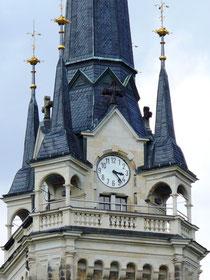 Blick auf den Kirchturm von Elterlein