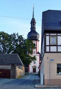 Blick auf die Kirche in Zwönitz