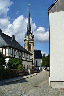 Blick auf die Kirche in Elterlein