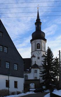 Blick auf die Kirche in Bockau