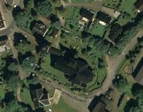 Luftbildaufnahme vom alten Friedhof in Geyer