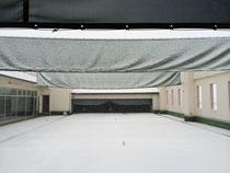 雪の弓道場