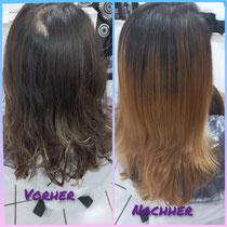 Von sehr dunkel wieder auf schön Hell ist möglich mit dem Schutzschild für Ihre Haare. 👍
