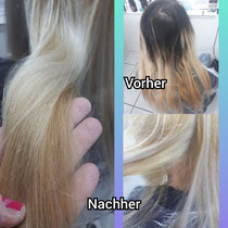 vorher: sehr ausgelaugtes selbst blondiertes Haar danach: Fachgerecht blondiert und mit dem Schutzschild behandelt