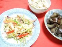 イカのピリ辛マヨ・ゴーヤ、ベーコンのマヨネーズあえ・茄子の南蛮風炒め