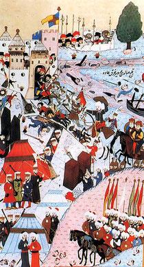 Die entscheidende Schlacht von Belgrad auf einer türkischen Miniatur