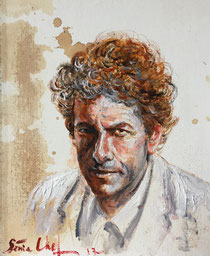 Genia Chef, Bob Dylan, portrait, oil painting, tea spots, canvas, contemporary, art, Russian, American, singer, songwriter, protest, poet