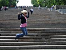 Auf der potemkinschen Treppe in Odessa