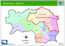 Gebietsaufteilung Alpinpolizei