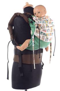 Huckepack Full Buckle, mitwachsende Babytrage ab Geburt, Komforttrage mit gut gepolsterten Trägern und Hüftgurt, gefertigt aus Targetuchstoff