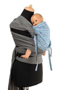 Huckepack Wrap Tai Tragehilfe mit auffächerbaren Trägern aus Tragetuchstoff, stabiler Hüftgurt mit Schnalle