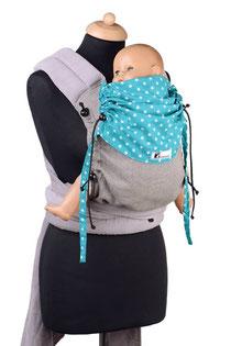 Huckepack Mei Tai Babytrage ab Geburt, stufenlos mitwachsendes Rückepanel aus Targetuchstoff, Träger und Hüftgurt zum Binden.