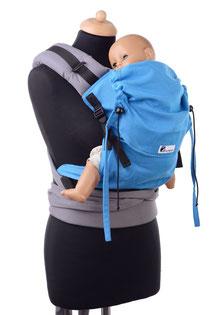 Huckepack Half Buckle Toddler, Tragehilfe, mitwachsendes Panel, gut gepolsterte Träger zum Binden, Hüftgurt mit Schnalle, gefertigt aus 100% Biobaumwolle, Tragetuchstoff